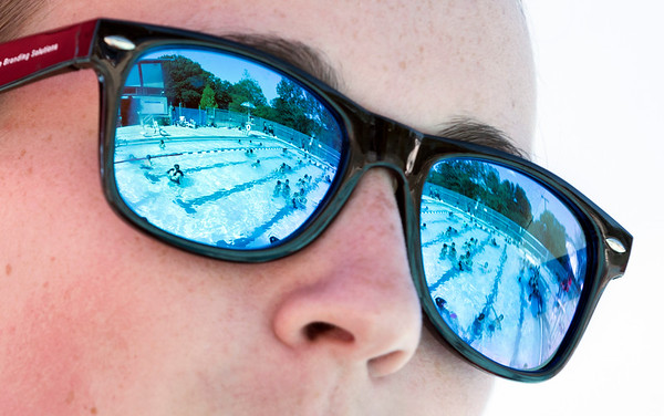 06/27/19 Wesley Bunnell | Staff Lifeguard Lindsay Walsh keeps an eye on swimmers at the newly renovated A.W. Stanley Park pool on Thursday June 27, 2019.