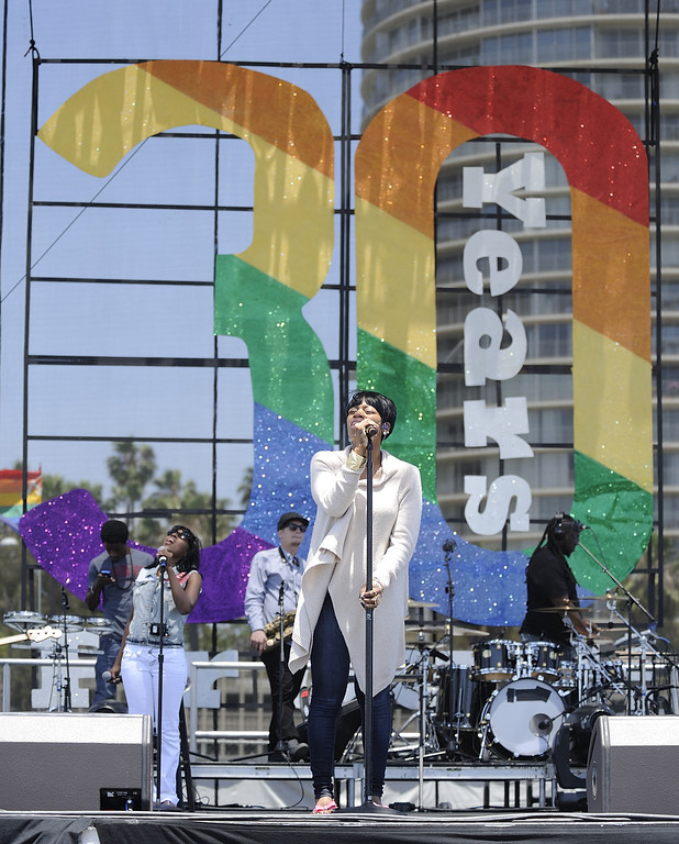 . LONG BEACH, CALIF. USA -- Fantasia does a sound check during the 30th annual Long Beach (Calif.) Lesbian & Gay Pride celebration Saturday, May 18, 2013. Photo by Jeff Gritchen / Los Angeles Newspaper Group