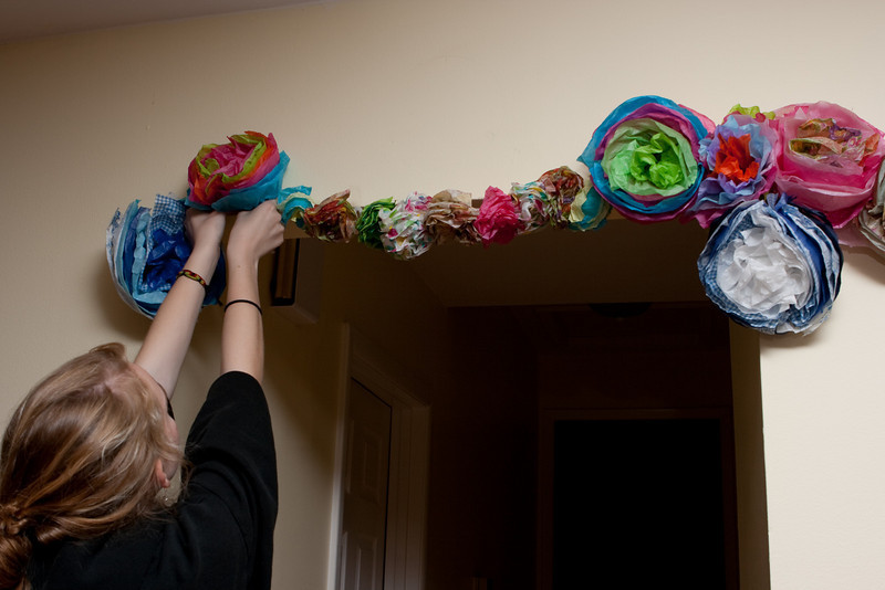 Adding to the garlands.