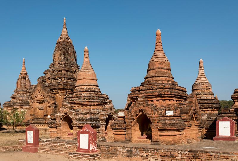 Group of restored stupas in Bagan, Burma - Myanmar
