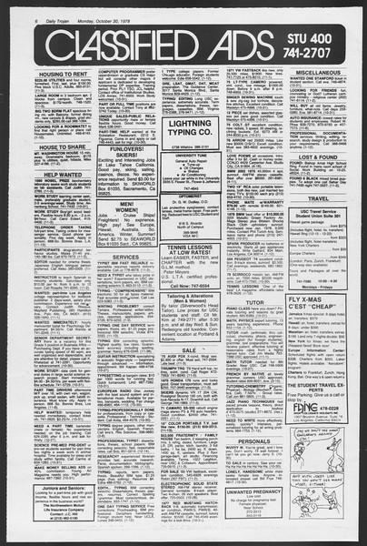 Daily Trojan, Vol. 75, No. 29, October 30, 1978