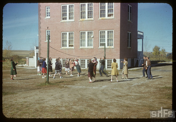 Volley ball at the convent.  Val Marie.  10/05/1954