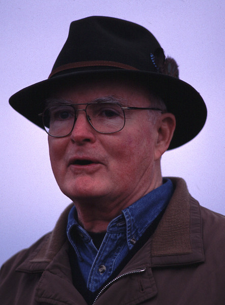 Bill Ruckelshaus speaking on Nov. 15, 2002, during the dedication of a salmon habitat restoration project adjacent to the Nisqually National Wildlife Refuge.