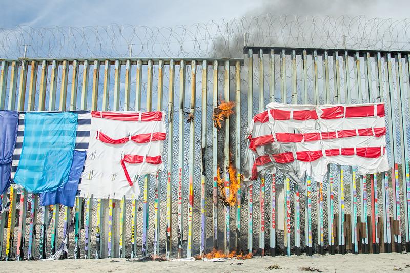 Repair and Flag burn at Playas