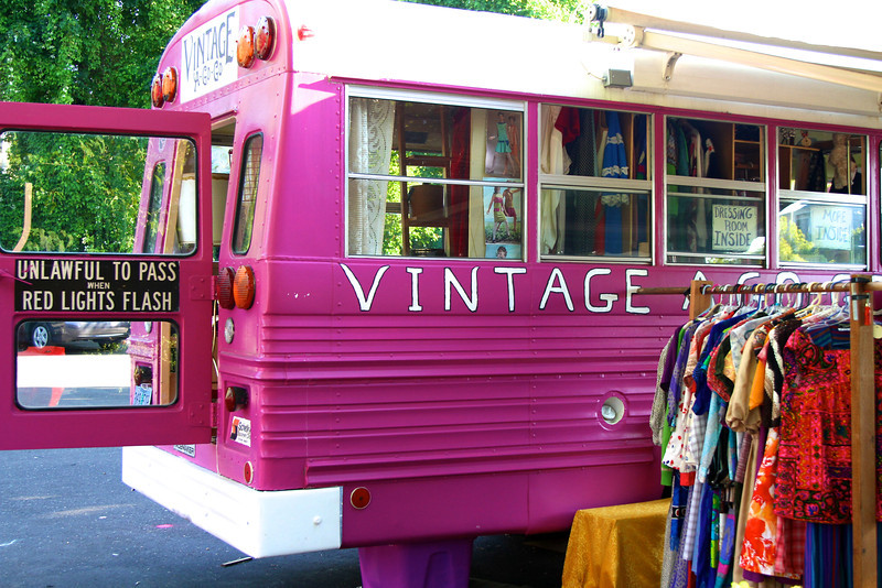 Enjoying our quirky and fun  PDX, July 2012 THE VINTAGE CLOTHING BUS