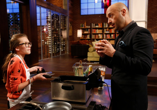 . Contestant Sofia and Judge Bastianich on MASTERCHEF JUNIOR airing Friday, Oct. 4 (8:00-9:00 PM ET/PT) on FOX. CR: Greg Gayne. © 2103 Copyright / FOX.
