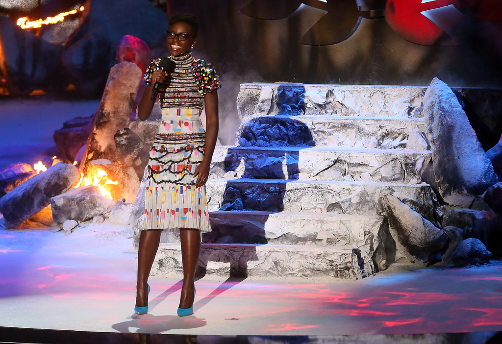 . Actress Lupita Nyong\'o speaks onstage at the 2014 MTV Movie Awards at Nokia Theatre L.A. Live on April 13, 2014 in Los Angeles, California.  (Photo by Frederick M. Brown/Getty Images)