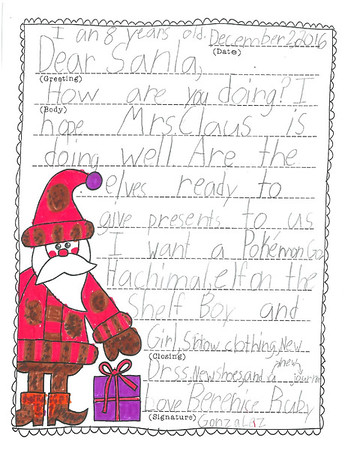 Mrs. Bryant's Second Grade Letters to Santa, 12/5/2016