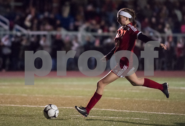 11/14/17 Wesley Bunnell | Staff Berlin girls soccer defeated Lewis Mills 2-1 (PK's 2-1) Tuesday night at Middletown High School to advance to the championship game. Ashley Wenzel (10) with a PK goal.
