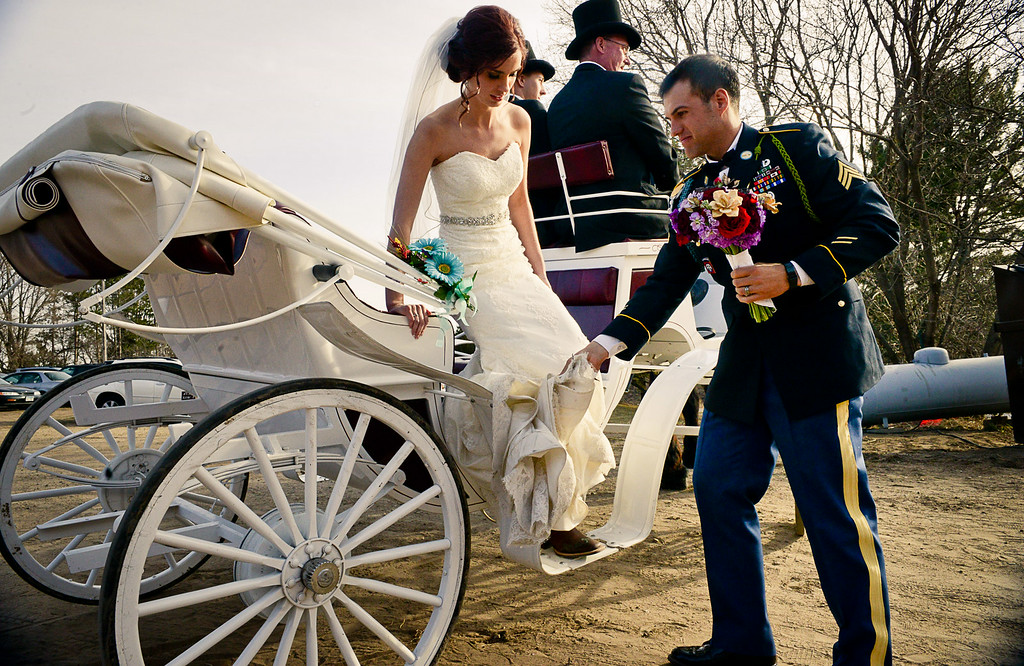 . Army Sgt. Cody Bauman and Paige Collins were married at Hope Glen Farm on Friday, April 11, 2014. The Fairy Godmother Project helped pay for the wedding. (Pioneer Press: Ben Garvin)