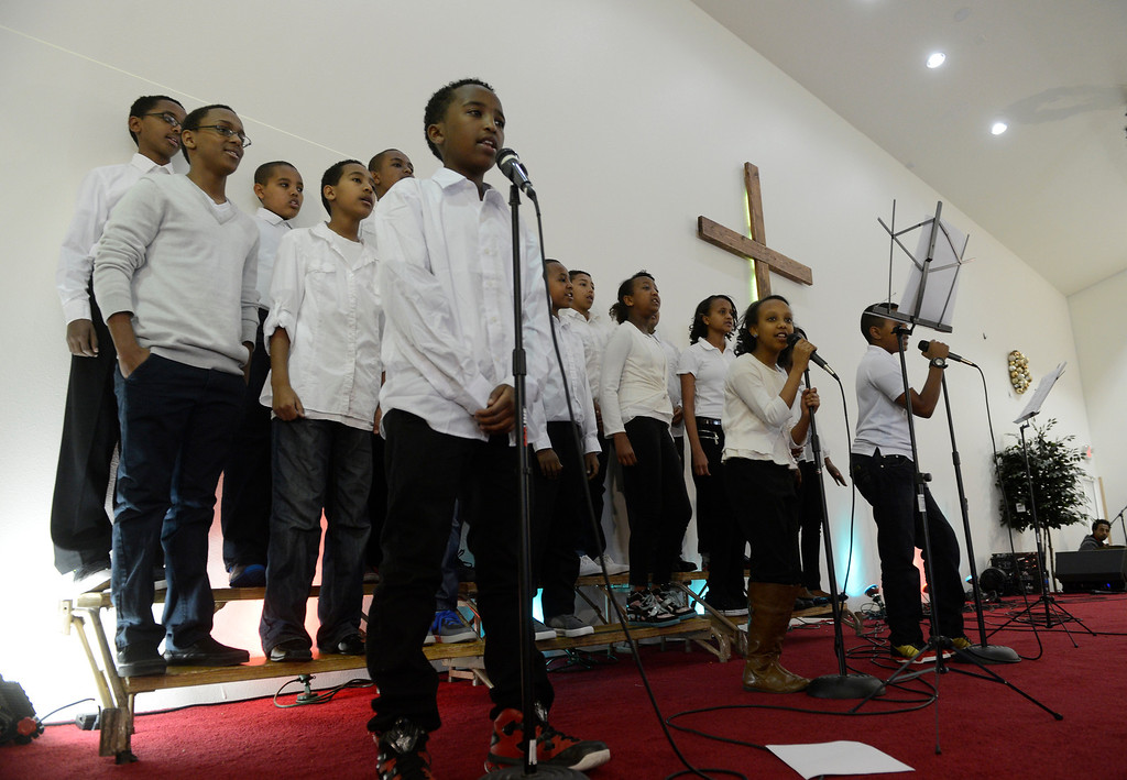 . AURORA, CO. - JANUARY 11:  The Addis Kidan Evangelical Church children\' choir sings during the church\'s dedication service, Saturday morning,  January 10, 2014. (Photo By Andy Cross / The Denver Post)