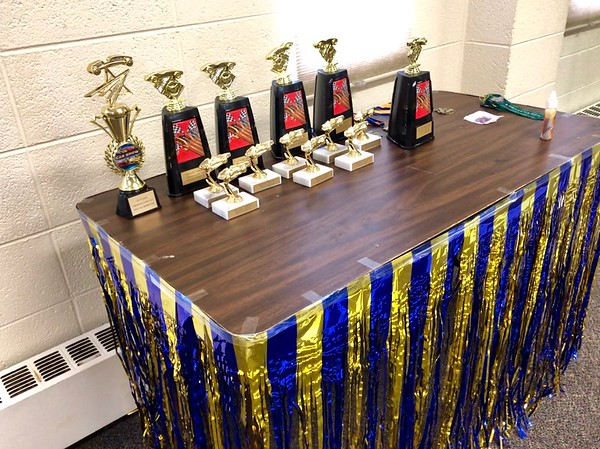 Pinewood Derby trophy table