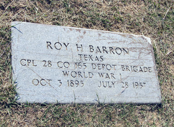 BARRON, ROY HUGH - SERVICE STONE Elizabeth Cemetery, Roanoke, Texas