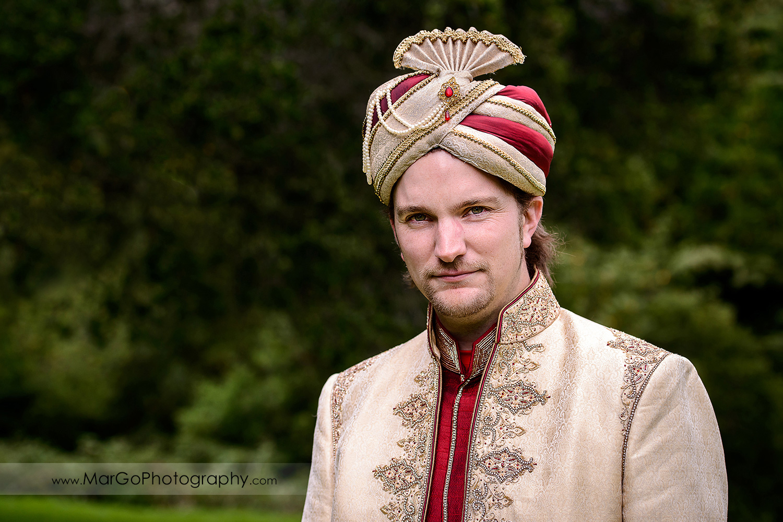 portrait of the groom at Indian wedding at Tilden Regional Park, Berkeley