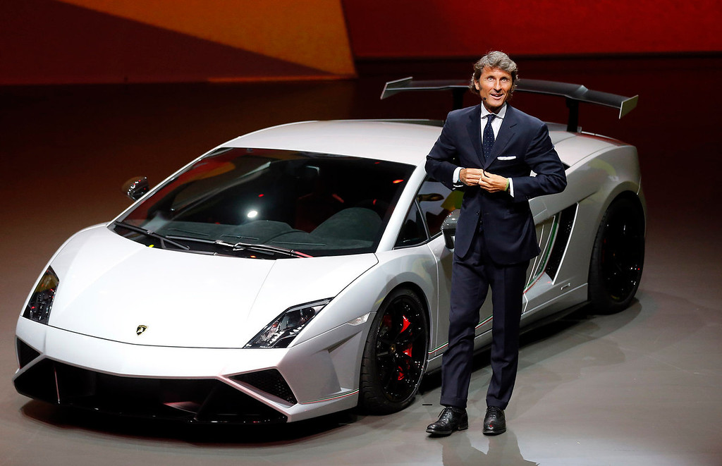 . Stephan Winkelmann, CEO of Lamborghini, introduces the new Squadra Course during a preview by the Volkswagen Group prior to the 65th Frankfurt Auto Show in Frankfurt, Germany, Monday, Sept. 9, 2013. More than 1,000 exhibitors will show their products to the public from Sept. 12 through Sept. 22, 2013. (AP Photo/Frank Augstein)