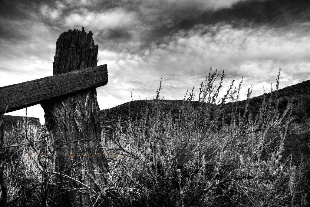 IMG_1831_BW,Desert,Fence post, Idaho,Black and White Fine Art.
