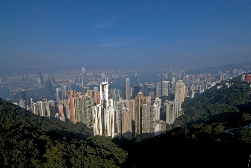 Beautiful shot of the Hong Kong skyline from Victoria Peak on a clear day
