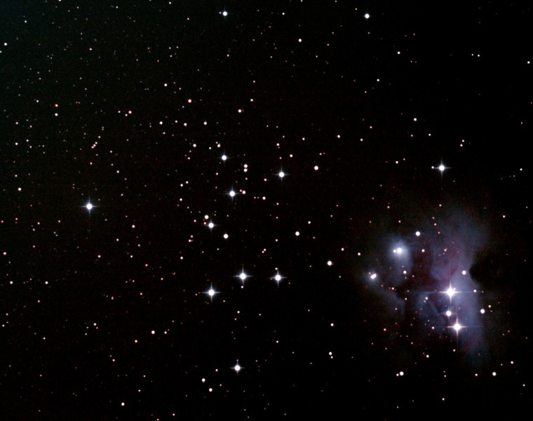 NGC1981 Open Cluster & NGC1973/5/7 Running Man Nebula - 9/10/2012 (Processed cropped stack)