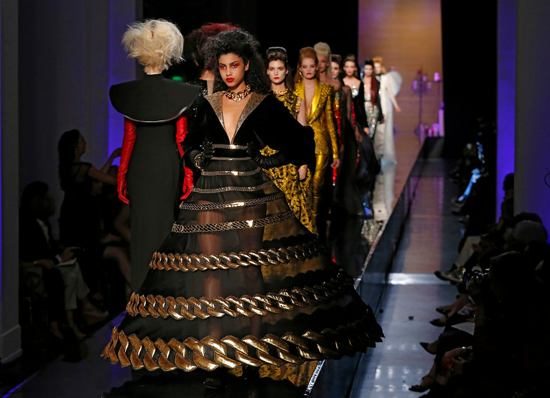 . Models wear creations as part of the Jean-Paul Gaultier Fall Winter 2014-15 Haute Couture fashion collection, presented in Paris, Wednesday, July 9, 2014. (AP Photo/Jacques Brinon)