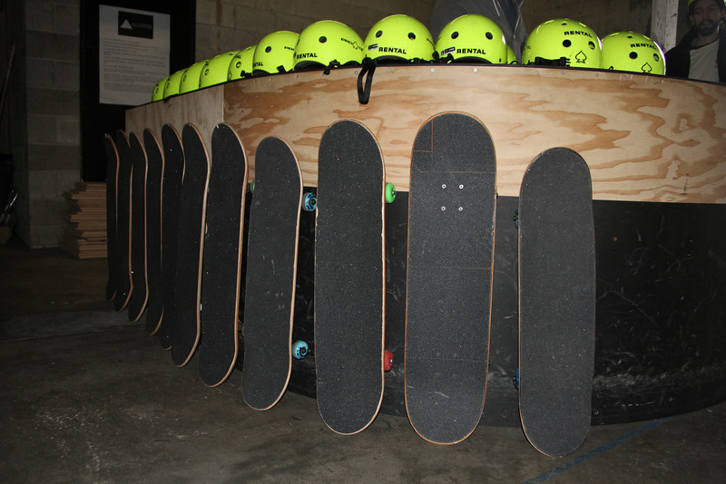 Skateboards and helmets ready for the party