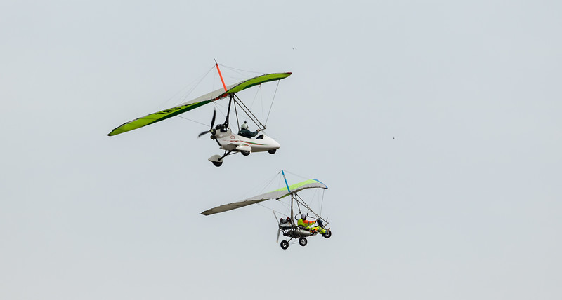 A pair of ultralight trikes