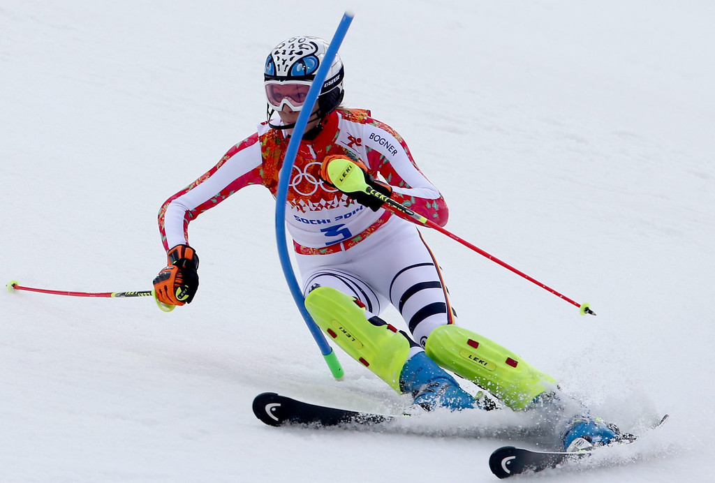 . Maria Hoefl-Riesch of Germany in action during the first run of the Women\'s Slalom race at the Rosa Khutor Alpine Center during the Sochi 2014 Olympic Games, Krasnaya Polyana, Russia, 21 February 2014.  EPA/KARL-JOSEF HILDENBRAND