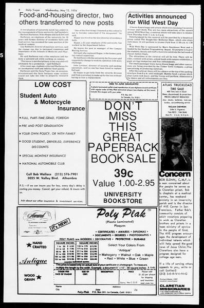 Daily Trojan, Vol. 66, No. 127, May 15, 1974