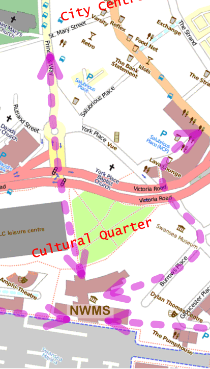 Map of Swansea cultural quarter showing NWMS and other attractions.