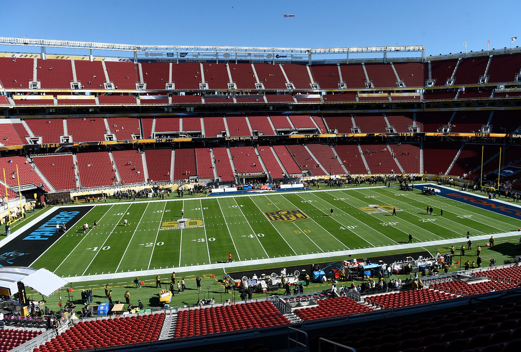 . SANTA CLARA, CA - FEBRUARY 7: A general view of Levi\'s Stadium prior to the start of the game.  The Denver Broncos played the Carolina Panthers in Super Bowl 50 at Levi\'s Stadium in Santa Clara, California on February 7, 2016. (Photo by RJ Sangosti/The Denver Post)