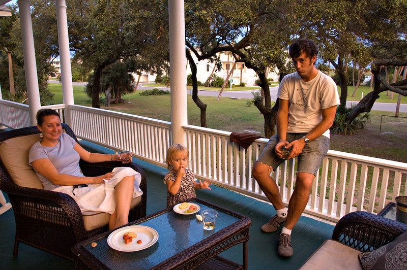 Hungry baby needs feeding. We loved the relaxing ambience of the front porch at 27 Officers Row