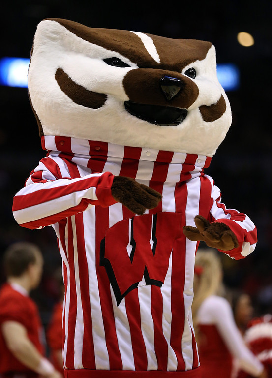 . The Wisconsin Badgers mascot, Bucky Badger, performs during the second round game of NCAA Basketball Tournament against the American University Eagles at BMO Harris Bradley Center on March 20, 2014 in Milwaukee, Wisconsin.  (Photo by Jonathan Daniel/Getty Images)