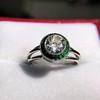 1.30ctw Old European Cut Diamond Emerald Target Ring 14
