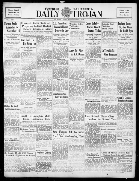 Daily Trojan, Vol. 26, No. 31, November 05, 1934