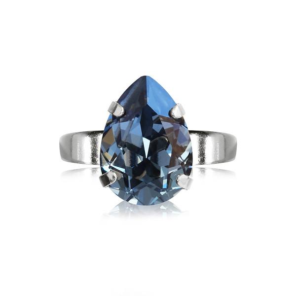 Mini Drop Ring / Denim Blue / Rhodium