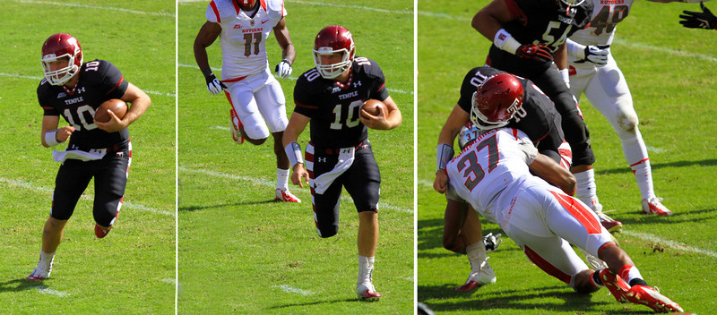 Sequence of Coyer running the football until Jamal Merrel stops him
