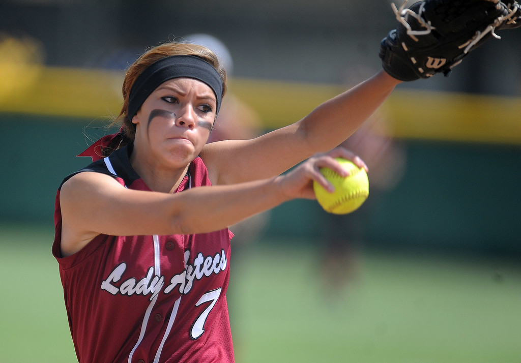 . Barstow starting pitcher Alexis York throws to the plate in the first inning of a CIF-SS quarterfinal playoff softball game against Northview at Northview High School on Thursday, May 23, 2013 in Covina, Calif. Northview won 5-4.  (Keith Birmingham Pasadena Star-News)