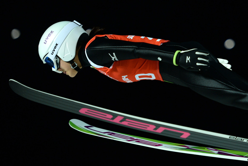 . Japan\'s Sara Takanashi attends the 1st Jump at the Women\'s Ski Jumping Normal Hill Individual official training at the RusSki Gorki Jumping Center during the Sochi Winter Olympics on February 10, 2014 in Rosa Khutor near Sochi.  PETER PARKS/AFP/Getty Images