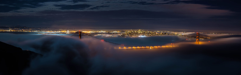 Foggy Moonlite Night Panorama