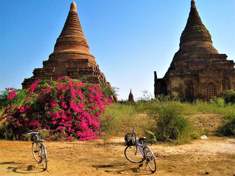 Two stupas as seen while you tour Bagan temples by bike.