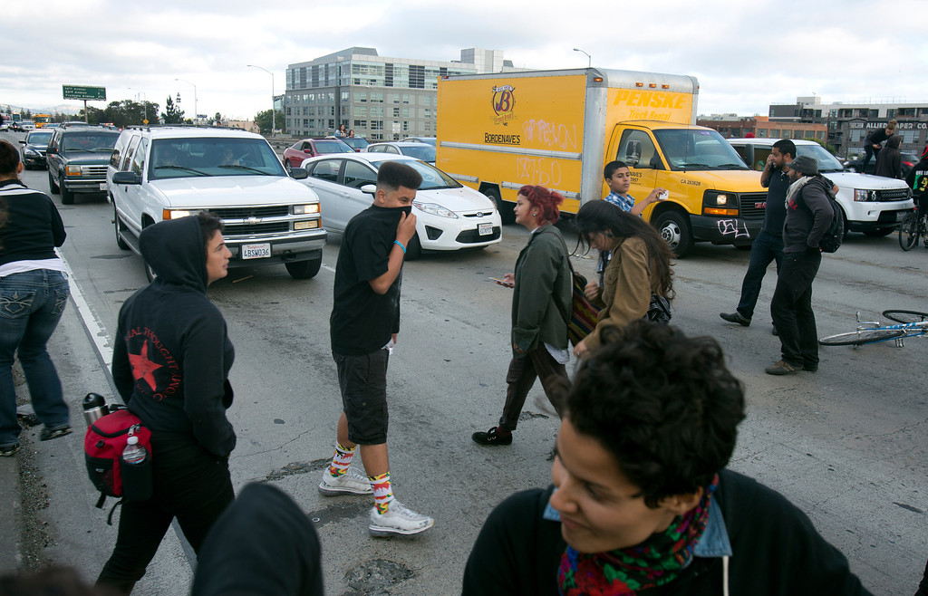 . Demonstrators block traffic on northbound Interstate Highway 880 near the Broadway offramp, during a protest of the verdict in the Trayvon Martin murder trial last Saturday in Sanford, Fla., Monday, July 15, 2013 in Oakland, Calif. (D. Ross Cameron/Bay Area News Group)