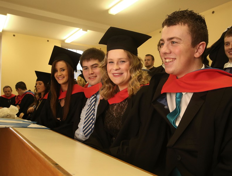 Pictured are from right, Diarmuid Aspell, Inistiogue, Co Kilkenny, Claire Bambrick, Callan, Co Kilkenny, John Cummins, Dungarvan, Co Waterford and Richenda Delahunty, Laois who graduated in Higher Cert in science in Agri Science. Picture: Patrick Browne.
