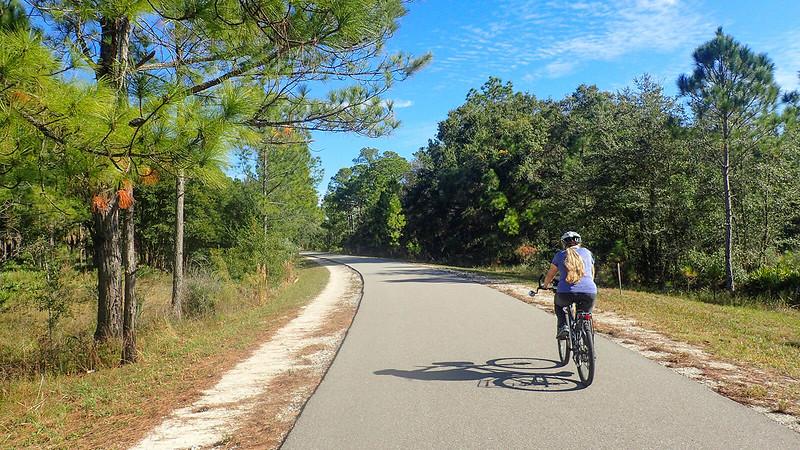Sandra riding the bike path
