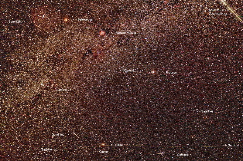 Looking for Geminids among the satellites! - 13/12/2020 (Processed stack)