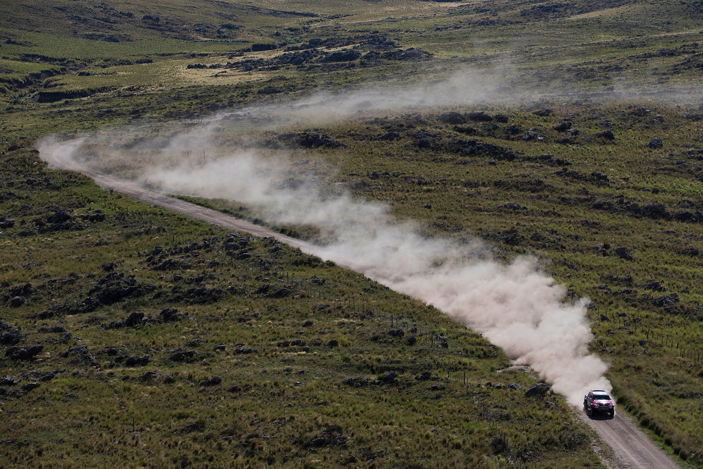 . Toyota driver Bernhard Ten Brinke of Netherlands and co-pilot Tom Colsoul of Beligum race during the second stage of the Dakar Rally 2015 between the cities of Villa Carlos Paz and San Juan, Argentina, Monday, Jan. 5, 2015. The race will finish on Jan. 17, passing through Bolivia and Chile and returning to Argentina. (AP Photo/Felipe Dana)