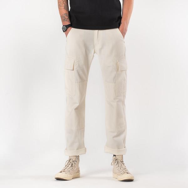 White 10.5oz Cotton Herringbone Cargo Pants--5.jpg