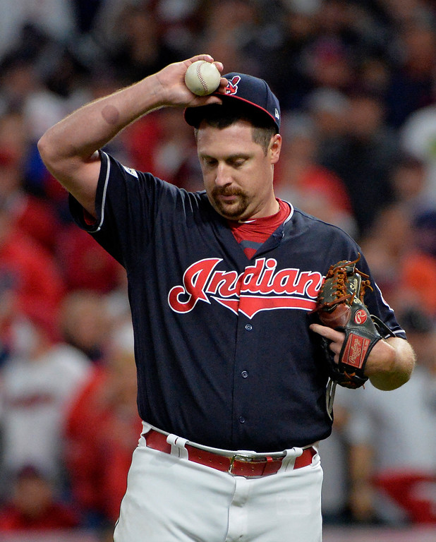 . Cleveland Indians relief pitcher Bryan Shaw adjusts his cap in the eighth inning of Game 5 of baseball\'s American League Division Series against the New York Yankees, Wednesday, Oct. 11, 2017, in Cleveland. (AP Photo/Phil Long)