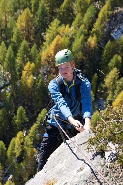Campbell starting his climb on the via ferrata