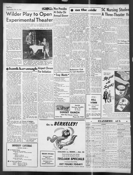 Daily Trojan, Vol. 39, No. 23, October 15, 1947