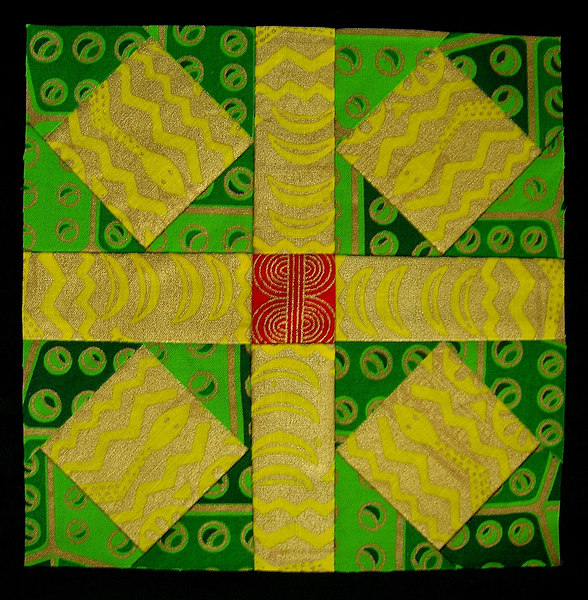 """EVE Block Name - """"Garden of Eden"""" I thought the yellow and gold fabric was perfect because it has snakes in it! The story of Eve (and Adam) is found in Genesis 1:26-31, and Genesis 2-4."""
