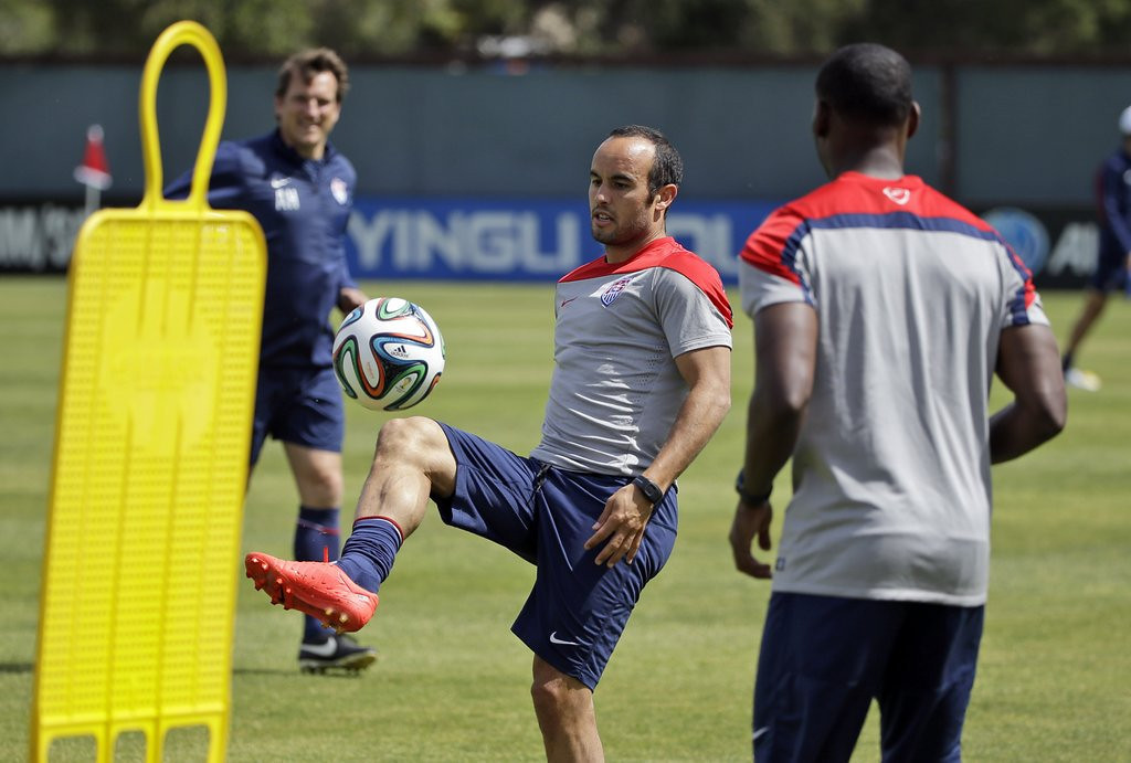 ". <p><b> U.S. soccer star Landon Donovan was stunned to learn he was bumped from the 2014 World Cup team in favor of younger teammates who have much less � </b> <p> A. Experience <p> B. Career goals <p> C. Forehead <p><b><a href=\' http://www.twincities.com/sports/ci_25817614/landon-donovan-among-7-cuts-u-s-world\' target=""_blank\"">LINK</a></b> <p>    (AP Photo/Marcio Jose Sanchez)"